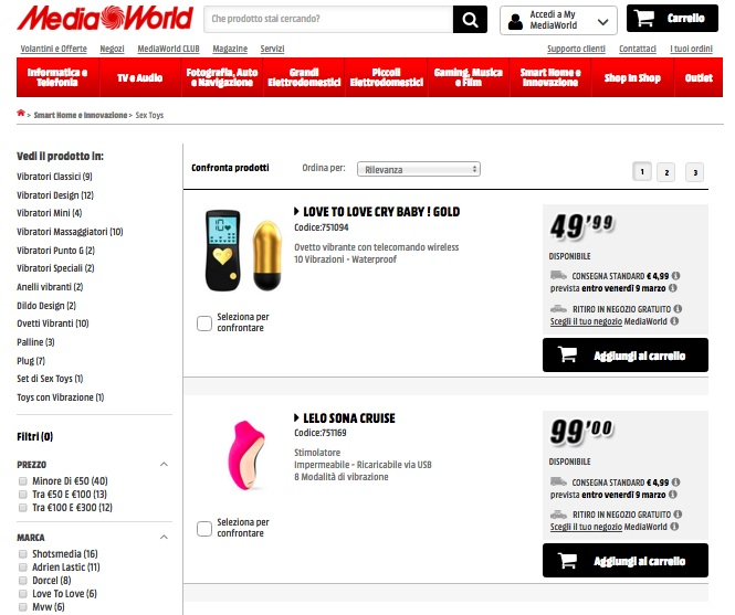 Mediaworld pagina sex toys