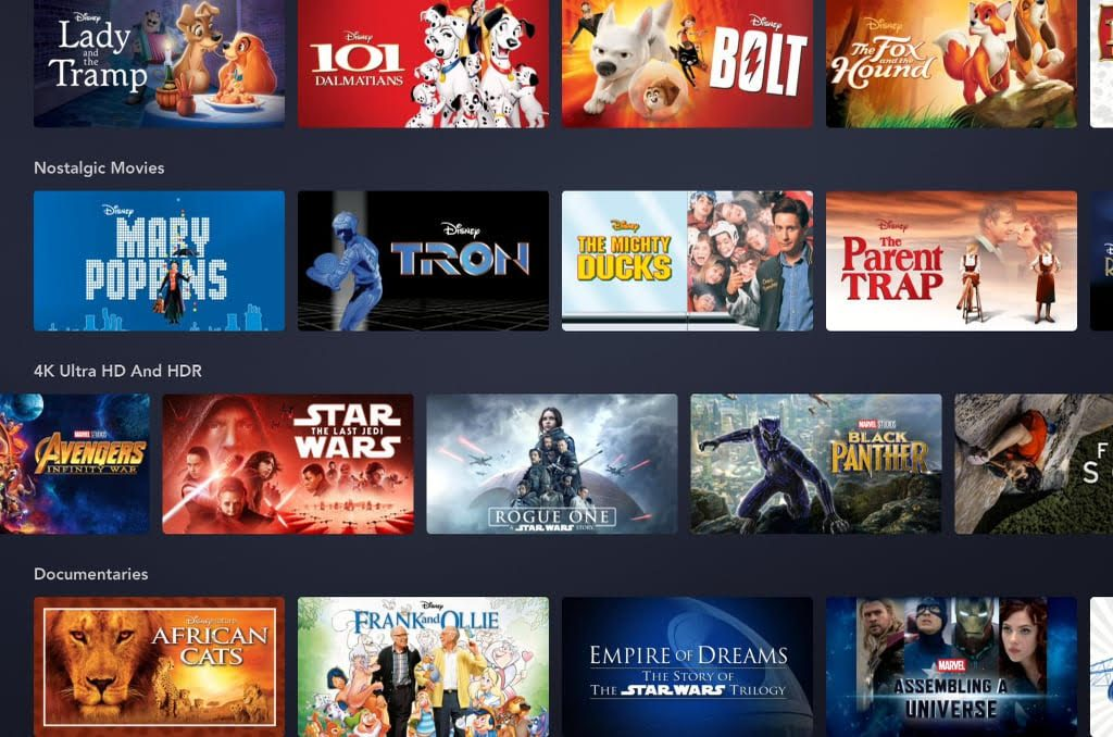 Disney+: tutti i film in 4K-Dolby Vision al lancio