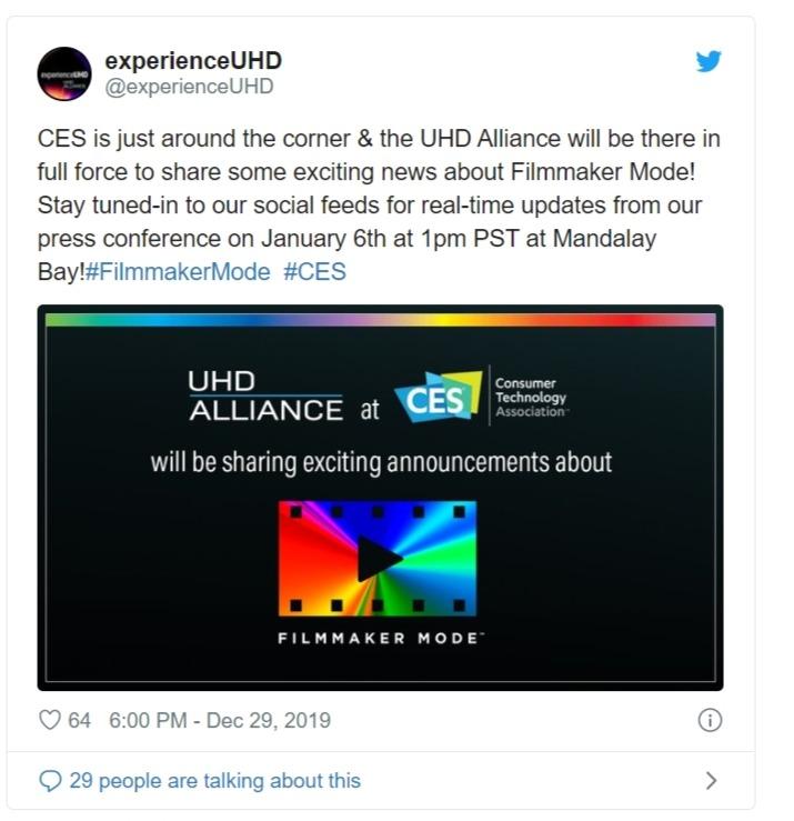 Filmmaker Mode: UHD Alliance scalda i motori in vista del CES 2020