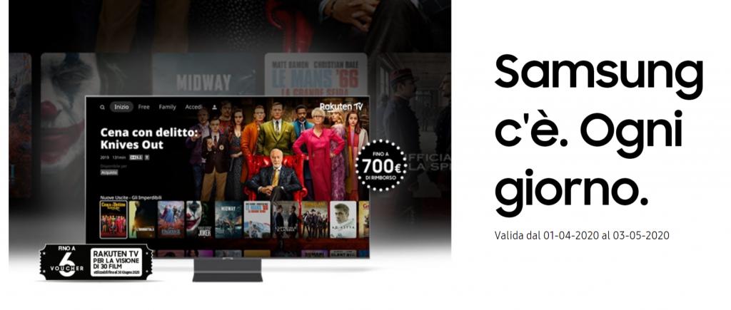 TV e soundbar Samsung: rimborsi e voucher per Rakuten TV